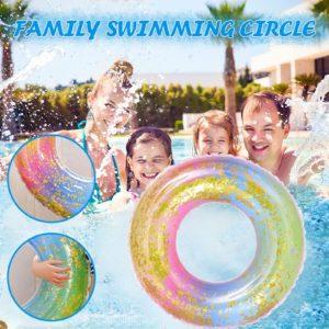 Anneau de natation en PVC épais, motif arc-en-ciel, sous les aisselles, bouée de piscine extérieure, matelas 1