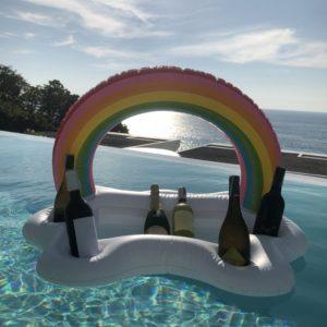 2021 Fête d'été Seau Nuage Arc-En-Ciel Support De Verre de Flotteur de Piscine Gonflable de Bière Refroidisseur Table Plateau Beach Nage Anneau 1