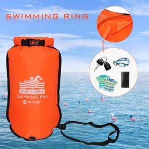 20L gonflable ouvert PVC bouée de natation remorquage flotteur sac sec Double airbag avec ceinture de taille pour la natation Sport nautique sac de sécurité 1