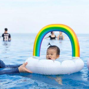 Anneau de natation gonflable à paillettes, nuage arc-en-ciel, siège pour bébé, jouet de divertissement aquatique pour piscine et plage 1