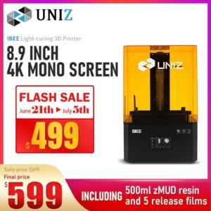 UNIZ IBEE LCD-SLA Photopolymérisation 3D Imprimante 8.9 Pouces 4K Écran Monochrome de Haute Précision D'impression 4.3 Pouces INTERFACE UTILISATEUR À Écran Tactile Système 1
