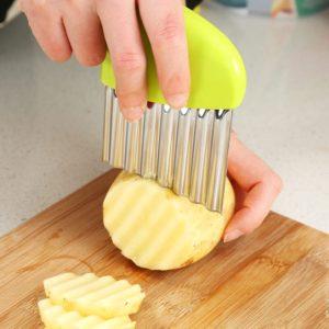 Tranche de pommes de terre, oignon ondulé, frisé, frites, salade, ondulé, coupe ondulée, couteau, tranche de légumes, Gadget pratique 1