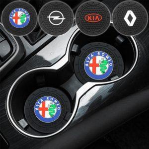 Sous-verre antidérapant avec logo de voiture, nouveau tapis en Silicone pour Tesla modèle 3 S modèle X modèle Y, accessoires de voiture, Gadget 1