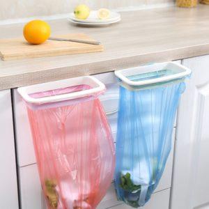Sac à ordures suspendu, 1 pièce, rangement de cuisine, crochet de cuisine, support de gadget, tampon de séchage, nettoyage ménager 1