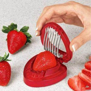 Trancheuse De Fraise Fruits Coupe Sculpture Outil de Coupe à Salade En Acier Inoxydable Fraise coupeur de Trancheuse de fruits Portable Gadgets De Cuisine 1