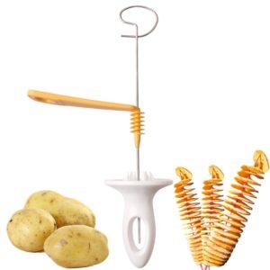 Trancheur de pommes de terre à 3 cordes en acier inoxydable, trancheur de pommes de terre en plastique torsadé en spirale, Gadget de cuisine créatif manuel à faire soi-même, 1 pièce 1