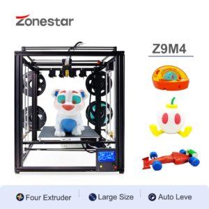 ZONESTAR – imprimante 3D Z9M4, 4 extrudeuses multicolores, structure de cadre de grande taille FDM, 4-en-1, mélange de couleurs, nivellement automatique, Kit 1