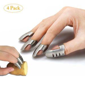 Protège-doigts en acier inoxydable, Protection pour couper les légumes, couteau Protection des doigts, protège-mains Gadgets de cuisine 4 pièces 1