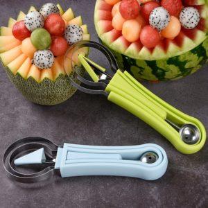Trancheur de pastèque 3 en 1, couteau à découper plateau de fruits cuillère à Melon pour la commodité de la cuisine, accessoires et Gadgets de cuisine 1