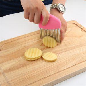 Trancheur de pommes de terre, ondulé, oignon, pommes de terre, salade de frites froissée, coupe ondulée, couteau, Gadgets de cuisine, 1 pièce 1