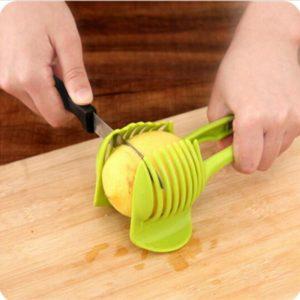 Trancheur de pommes de terre en plastique, coupe-tomate, coupe-citron, support de coupe-citron, outils de cuisine à la main, Gadgets de cuisine, accessoires 1
