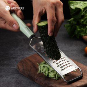 Trancheuse manuelle de pommes de terre de carotte de râpe de légumes de coupe 304 trancheuse de légume d'acier inoxydable avec la poignée en plastique Gadgets de cuisine 1