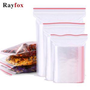Sac de rangement des aliments réutilisables, 100 pièces, Gadgets de maison, sacs transparents à fermeture éclair, paquet de petits bijoux, accessoires de cuisine 1