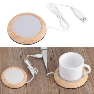 Plateau chauffant USB, sous-tasse, Gadget, Grain de bois, café, thé, boisson, cadeau de bureau 1