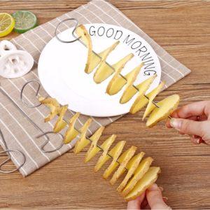 Trancheur de pommes de terre en spirale, 1 ensemble, en acier inoxydable, pommes de terre frites, outils de cuisine, carottes, concombre, Gadgets rotatifs 1