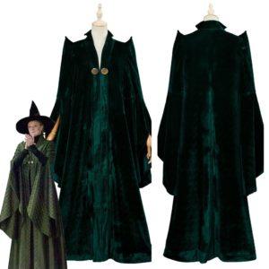 Cape verte en velours, Costume de carnaval d'halloween, de bonne qualité, pour professeur minérva McGonagall, pour jeu de rôle 1