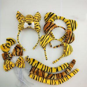 Bandeau tigre pour enfants et garçons, avec nœud papillon, queue d'animal, Costume Cosplay, accessoires de fête d'anniversaire, cadeau d'halloween 1