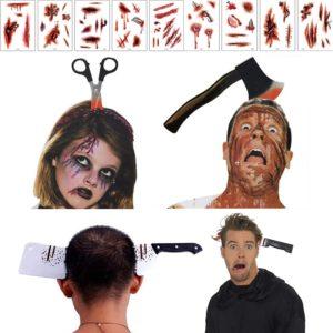 Bandeau d'arme en caoutchouc, couteau en plastique, hache couperet et ciseaux, couronne d'horreur pour adolescents, décor d'halloween 1