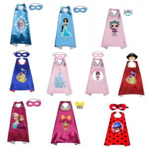 Capes de princesse avec masque, déguisement de fête d'anniversaire pour garçons et filles, Costumes d'halloween, Cape de sirène, Anime Cosplay 1