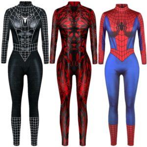 Combinaison de super-héros Sexy pour femmes, costume de Cosplay, combinaison de personnages de Catsuit pour Halloween, robe fantaisie 1