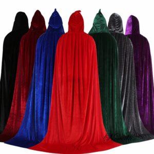Cape d'halloween en velours pour enfants et adultes, Costume médiéval à capuche, pour fête de carnaval 1