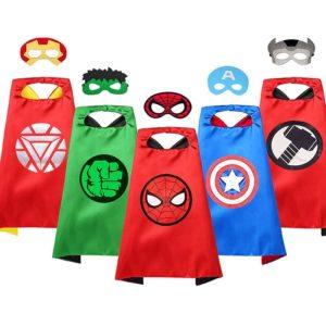 Capes de super-héros pour enfants, jouet Cosplay pour Halloween, Spiderman, Hulk, Captain America, Double face 1