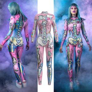 Combinaison rose Doodle squelette crâne, combinaison Catsuit Sexy, Costumes Cosplay Halloween, robe fantaisie pour femmes 1