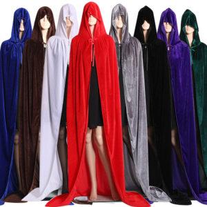Cape gothique à capuche teintée, Robe Wicca, Cape de sorcière, pour hommes et femmes, Costumes d'halloween, vampire, fantaisie, fête, taille S-M 1