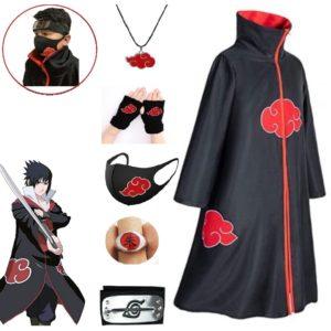 Akatsuki – Costume de Cosplay avec Bandeau et anneau, 3 pièces, Cape d'halloween, Cape, Robe Itachi, Costume d'anime avec Bandeau Konoha 1