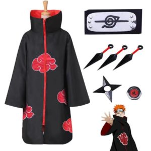 Bandeau cape nuage rouge Uchiha Ninja, anneau, Costume d'halloween Cosplay Kunai, ensemble d'accessoires 1