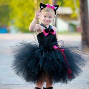 Cosplay – robe tutu de princesse pour filles, costume d'halloween, costume de chat noir, cravate à la queue, tendance 1