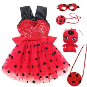 Costume coccinelle rouge pour filles, tenue de fête d'anniversaire Tutu pour enfants, Costume d'halloween coccinelle 1