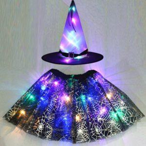 Chapeau de sorcière lumineux LED pour filles, jupe en toile d'araignée, Costume d'halloween et de noël, déguisement de Cosplay baguette magique 1