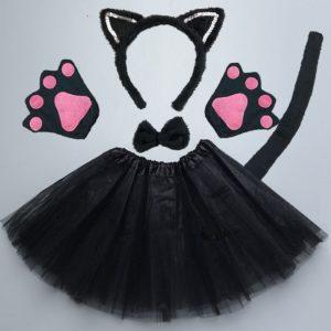Bandeau oreilles de chat pour adultes et enfants, Cosplay de fête d'halloween, noir, blanc, rose, nœud arrière, patte, Performance sur scène, vêtements de danse 1