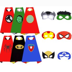 Capes de super-héros avec masques, Costumes Cosplay Spiderman Hulk, fête d'anniversaire, noël, Halloween, cadeau pour enfants 1