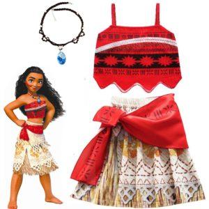 2020 filles Moana Cosplay Costume pour enfants Vaiana princesse robe vêtements avec collier pour Halloween Costumes cadeaux pour fille 1