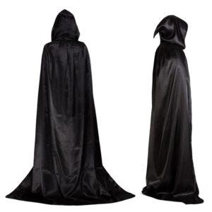 Cape noire à capuche pour Halloween, 1 pièce, cape noire, diable, avec capuche, unisexe, pour adultes et enfants, longue cape, Costume, accessoires de Cosplay 1
