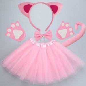 Bandeau oreilles de chat noir blanc rose pour enfants, Cosplay de fête d'halloween, bandeau de patte, spectacle de danse sur scène, ensemble de vêtements 1
