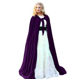 Cape d'halloween à capuche pour homme et femme, longue Cape, en velours, tenue de fête, Cosplay, pour enfants et adultes 1