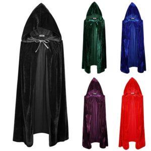 Cape d'halloween en velours pour adultes, Cape à capuche, Costume médiéval, déguisement de sorcière Wicca Vampire, manteaux, 5 couleurs 1