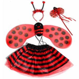 Bandeau ailes de coccinelle pour filles, jupe baguette magique, costume d'halloween de fête Cosplay pour enfants, noël 1