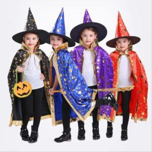 Cape d'halloween avec chapeau, motif d'étoile, citrouille, Costume de Cosplay pour enfants, fête d'anniversaire pour garçons et filles, 80 cm 1