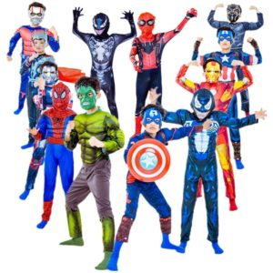 Combinaison de super héros Hulk/Spiderman/Iron Man/venom pour garçons et filles, Costume d'halloween Avengers Cosplay, gants de bouclier, accessoires cadeaux 1