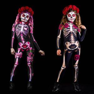 Combinaison squelette Rose pour enfants, Costume effrayant de carnaval, Halloween, fantôme diable, fête, fête, spectacle, bébé fille, jour des morts 1