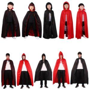 Cape de Vampire noire et rouge pour enfants et adultes, Costume Cosplay pour fête d'anniversaire, Halloween, noël 1