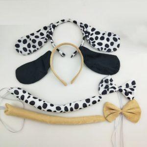 Bandeau oreilles chien dalmatien 3 pièces, couvre-chef, cravate de queue, ensemble Costume Cosplay pour enfants, accessoires de fête d'anniversaire, Halloween et noël 1