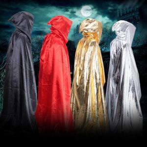 Cape de magicien pour adultes, Costumes d'halloween pour femmes et hommes, cape à capuche longue mort, manteau de couleur noir/argent/rouge/or, décoration de fête 1